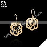 2015 hot sale flower shaped gold plating 925 sterling silver earrings