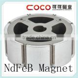 35SH/38SH/40SH/42SH/44SH arc shape neodymium monopole magnet with screw hole for rare earth motor