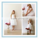 New Ball Gown Cap Sleeves White Lace Floral Short Lovely Custom Made Flower Girl Dresses for Wedding(DMTU-FG10)