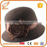 Custom winter wool felt hats brown fedora ladies felt hats with flower bow                                                                                                         Supplier's Choice