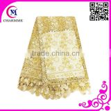 Design CCL-0124 Elegant gold african guipure lace water soluble chemical lace