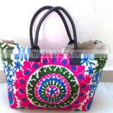 New beautiful bright colors suzani bags embroidered shoppers bag