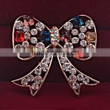 Fashion Jewelry colorful crystal bow sweet nice cute magnetic brooch pin ladies scarf clips