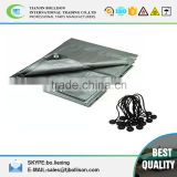 12 x 20 Foot Heavy Duty Gray/Silver Tarp with 15 Ball Bungees 12 Mil UV Protecting