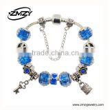 Dropping Shipping European 925 Silver Chain Bracelet For Women With Key Charm Murano Glass Beads Christmas Jewelry