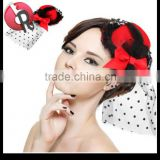 Feather Lace Bow 2 Hair Clips Pink Mini Top Hat Burlesque Fancy Dress