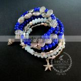 vintage antiqued silver ocean turtle shell sea star fish blue glass beads 6 layers fashion wiring bangle bracelet 6490044