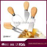 Wholesale 4 Pieces Set Cheese cutter with Wood Handle Steel Stainless Cheese Slicer Cheese knife