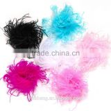 Wholesale Curly Ostrich Feather Puff Artificial Dress Up Hair Bow Clip for Accessories