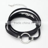 multi wrap alloy circle charm genuine leather bracelets quality black wraps leather bracelets for her gifts 2017