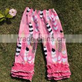 New arrival popular baby girl ruffle pants feather pattrn icing leggings triple ruffle short kids pants
