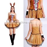 Hot Sale Christmas Party Dress Women Gift Sexy Skirt Christmas Hat Ladies Dress Santa Claus Costumes Free Size