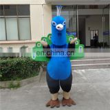 Factory direct sale customized peacock mascot costume for adults