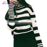 Private label Black and white stripes knit high collar latest design winter sweater women 2017