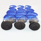 Alibaba Hot Selling Top Quality Full Cuticle Brazilian Virgin 2 Tone Color Ombre Hair Color 1B/Blue