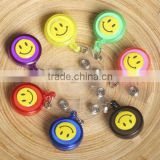 New ID Card Holder 20pcs Reel Retractable Badge Key Tag Clip Name Smiling Face