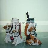 Resin dog statue pencil vase
