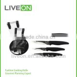 2014 Hot Selling LIVEON 4pcs Ceramic Knife Set with Acrylic Block