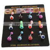 Surgical Steel rod with acrylic ball belly button ring piercing