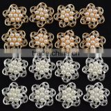 AAA Quality 20MM Pearl Alloy Flower Crystal Rhinestone Button For Baby Girl Jewelry Garment Accessory