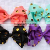 Hot-sales 6 inch gold polka dot hair Bow boutique large Ribbon Bow Headbands girl Hair Bows CB-3611
