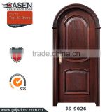 Classic popular design entrance HDF material black walnut solid wood arch door with open painting