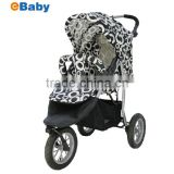 Baby Stroller Manufacturer Adjustable Backrest Footrest Reversible Seat Air inflated Swivel 3 Wheels with Suspension