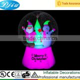 CHRISTMAS NEON GLOW SANTA AND SNOWMAN SNOW GLOBE INFLATABLE HOLIDAY YARD DECOR NEW