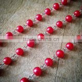 100cm Round Pearl Red Bead Necklace Chain 5mm Bead Silver Chain Jewelry Making Supplies