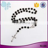 black plastic pearls beads rosary cross christian religious jewelry