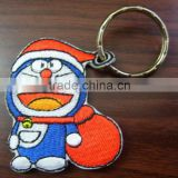 Double-sided embroidery patch / doraemon keychain embroidery badge / custom keychain emboridered patch