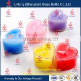 Christmas day and hallowmas home decoration use lighting glass jar heart shaped glass candle holder