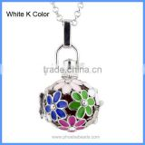 Wholesale 3 Colors Mexican Angel Wing Flower Hollow Cage Musical Sound Bell Ball Chime Magic Box Pregnancy Necklace BAC-M027