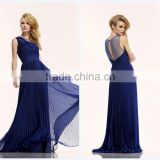 Beach Style Round Neck Brush Train Chiffon Pleated Royal Blue Suzhou Prom Dress 2015 HA-151