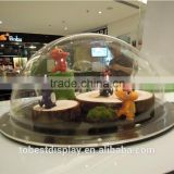 Custom large clear acrylic dome, glass dome with base