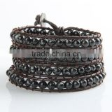 Glass imitation pearls bracelet wrap bracelet leather bracelet Imitation XueHuaShi bracelet