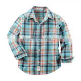 wholesale new pattern designer stylish comfort oem one chest pocket long sleeve cotton kids fancy check shirts