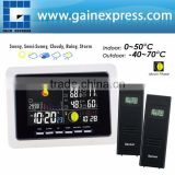 2 Wireless Sensors Weather Station WWVB DCF RCC Indoor Outdoor Temperature Thermometer With air presurre Trend Indicator