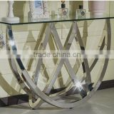 Special Shape Tempered Glass Top Console Table Set With Stainless Steel Base For Home Use
