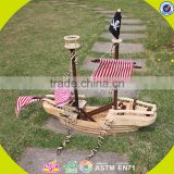 Wholesale DIY 3D baby wooden pirate ship toy handmade kid wooden pirate ship toy cool kids wooden toy pirate ship W03B001