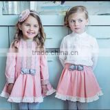 Little Girls Fall Boutique New Arrive Lace Bow Dress Pink Dress Twins Clothing
