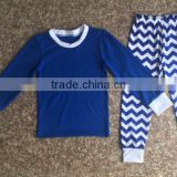 wholesale blue cotton pajamas outfits blue top and chevron pants boys 100% cotton pajamas family pajama sets
