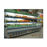 White / Red Upright Open Chiller Supermarket Showcase With Big Capacity