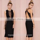 latest fashion dress design black crepe fabric cut out at back lace sexy dress