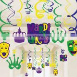 Funny Mask Shape Card Mardi Gras Hanging Foil Swirls Banner Party Decoration Home Supply