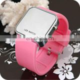 wholesale colorful band promotion simple silicone large mirror face LED watch