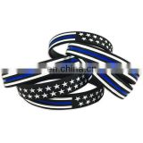 Thin Blue Line Silicone Bracelets with USA flag