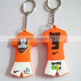 Custom made logo 3d double sided rubber pvc football team shirt key holder soccerJersey keychain