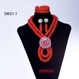 Jewelry Trendy African Beads Necklace Women Silver African Wedding Big Nigerian Jewelry Sets For Women 2018 Free Shippi