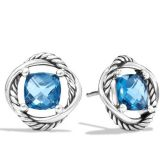 Designs Inspired David Yurman Sterling Silver 7mm Infinity Earrings with Blue Topaz